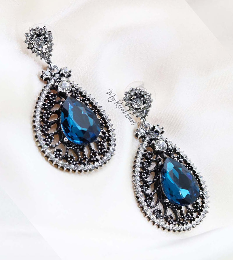Q.CHARLOTTE- luxury vintage chandelier drop bridal earrings - My Roial Ears LTD