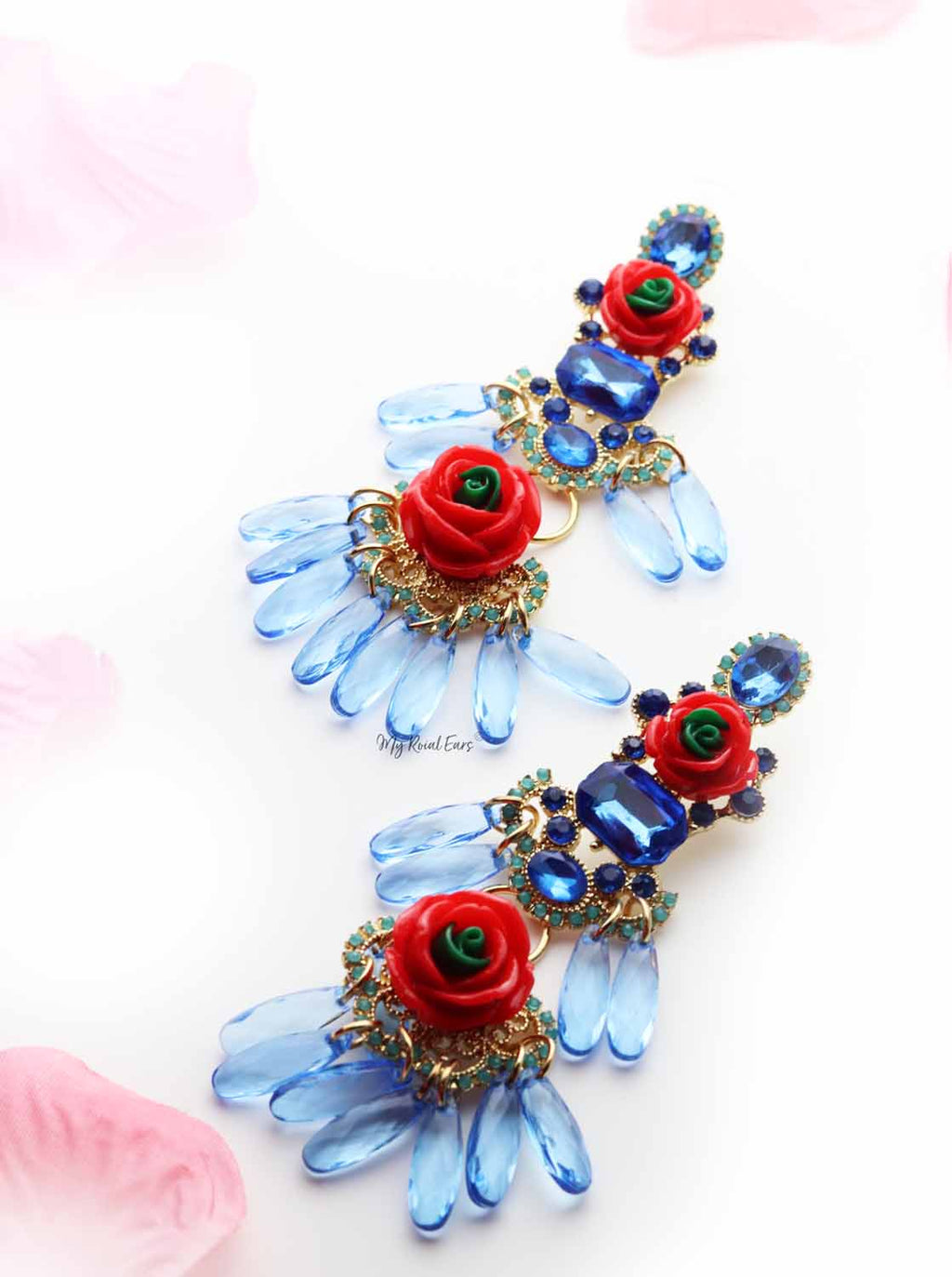 Foxglove Blue-tassel statement drop earrings - My Roial Ears LTD