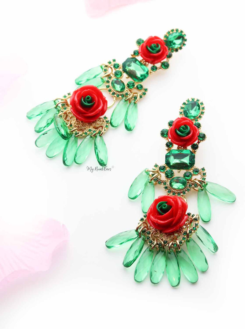 Foxglove Green-tassel statement drop earrings - My Roial Ears LTD