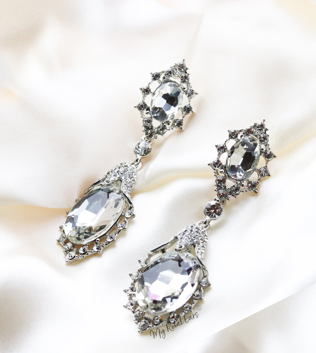 Q.Rosalie-silver crystal plated statement bridal earring - My Roial Ears LTD