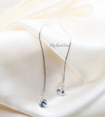 Q.Makeda- lightweight sterling silver chain drop bridal earrings - My Roial Ears LTD