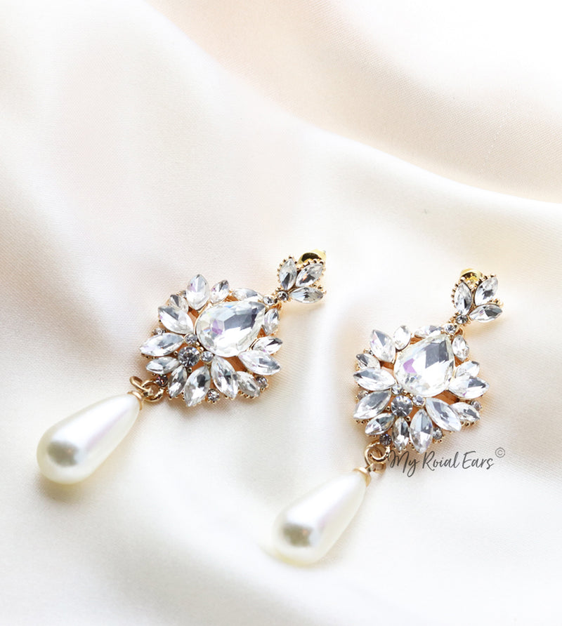 Q.Isobel-stone crystal luxe pearl like bridal drop earrings - My Roial Ears LTD