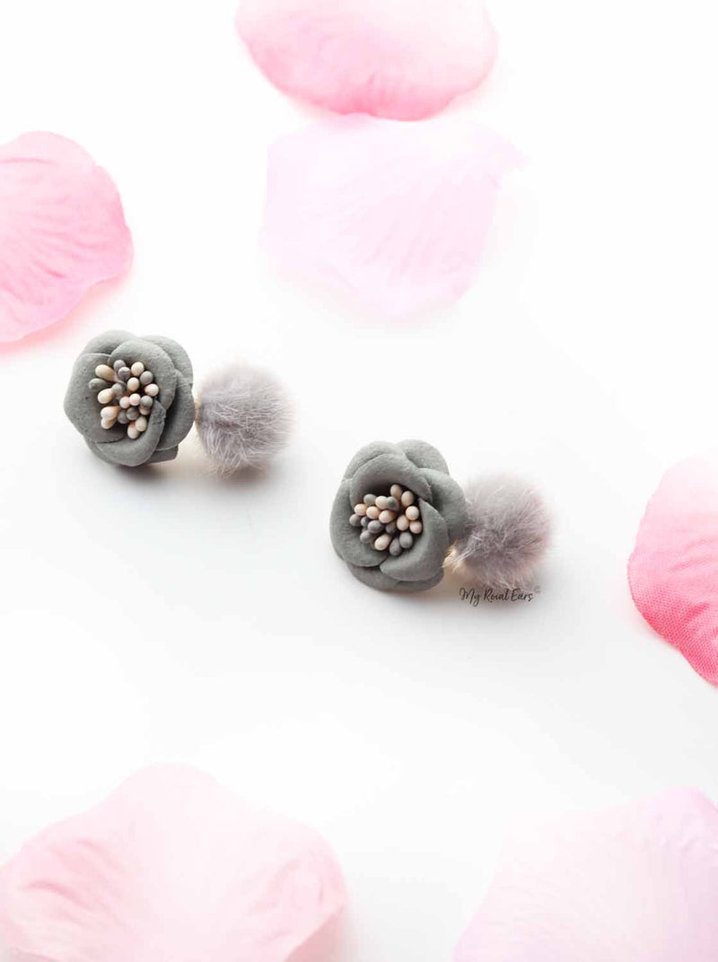 Erica- cute flower stud fur ball stud earrings - My Roial Ears LTD