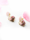 Hyacinth- sweet velvet heart shaped small drop earrings - My Roial Ears LTD