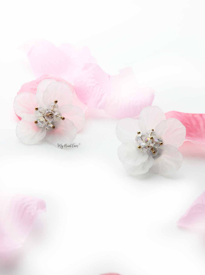 Iris White- hand-made, acrylic flower stud earrings - My Roial Ears LTD