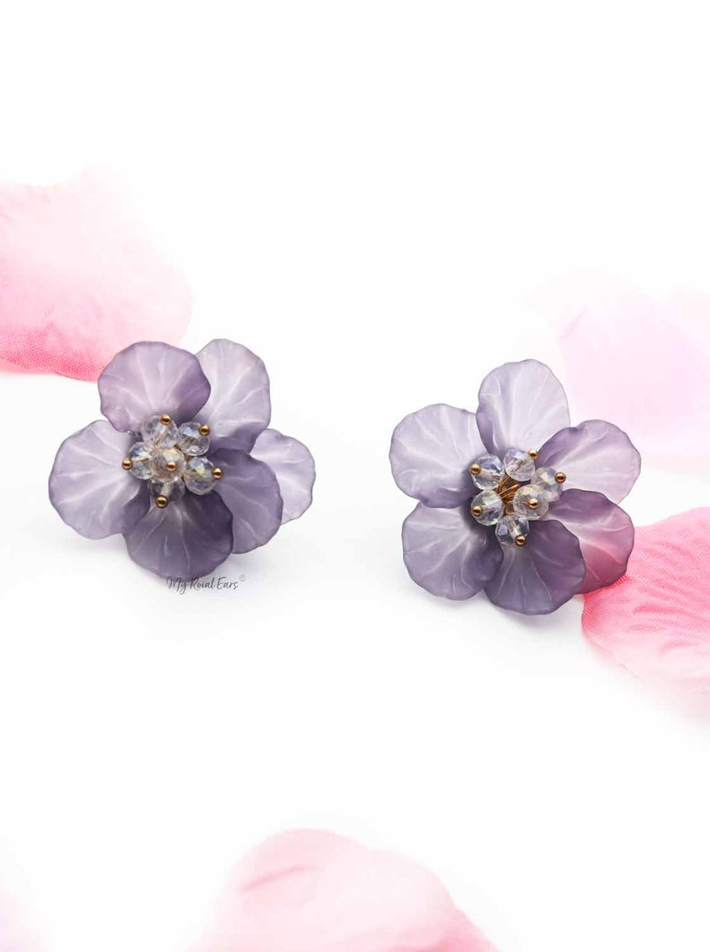 Iris Purple- hand-made, acrylic flower stud earrings - My Roial Ears LTD