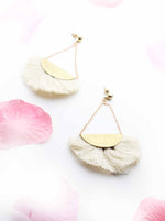 Jasmine- gold tassel fan drop earrings - My Roial Ears LTD
