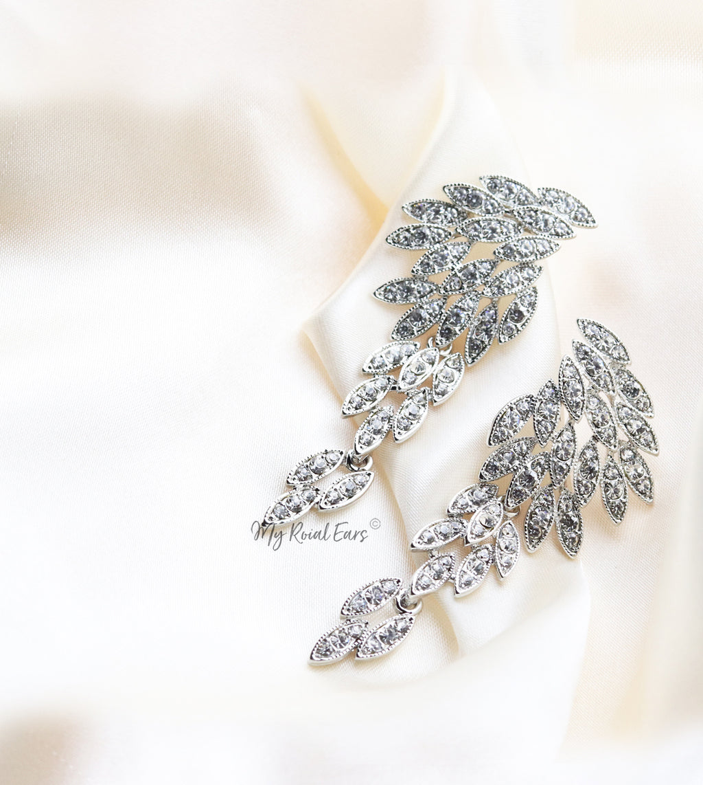 Q Rosemary Silver-luxury remarkable drop statement bridal earrings - My Roial Ears LTD
