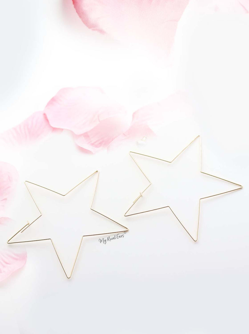Lily- thin gold plated star shape earrings - My Roial Ears LTD