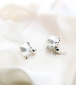 Q Pipa Silver-exquisite rhinestone ball pearl bridal earrings - My Roial Ears LTD