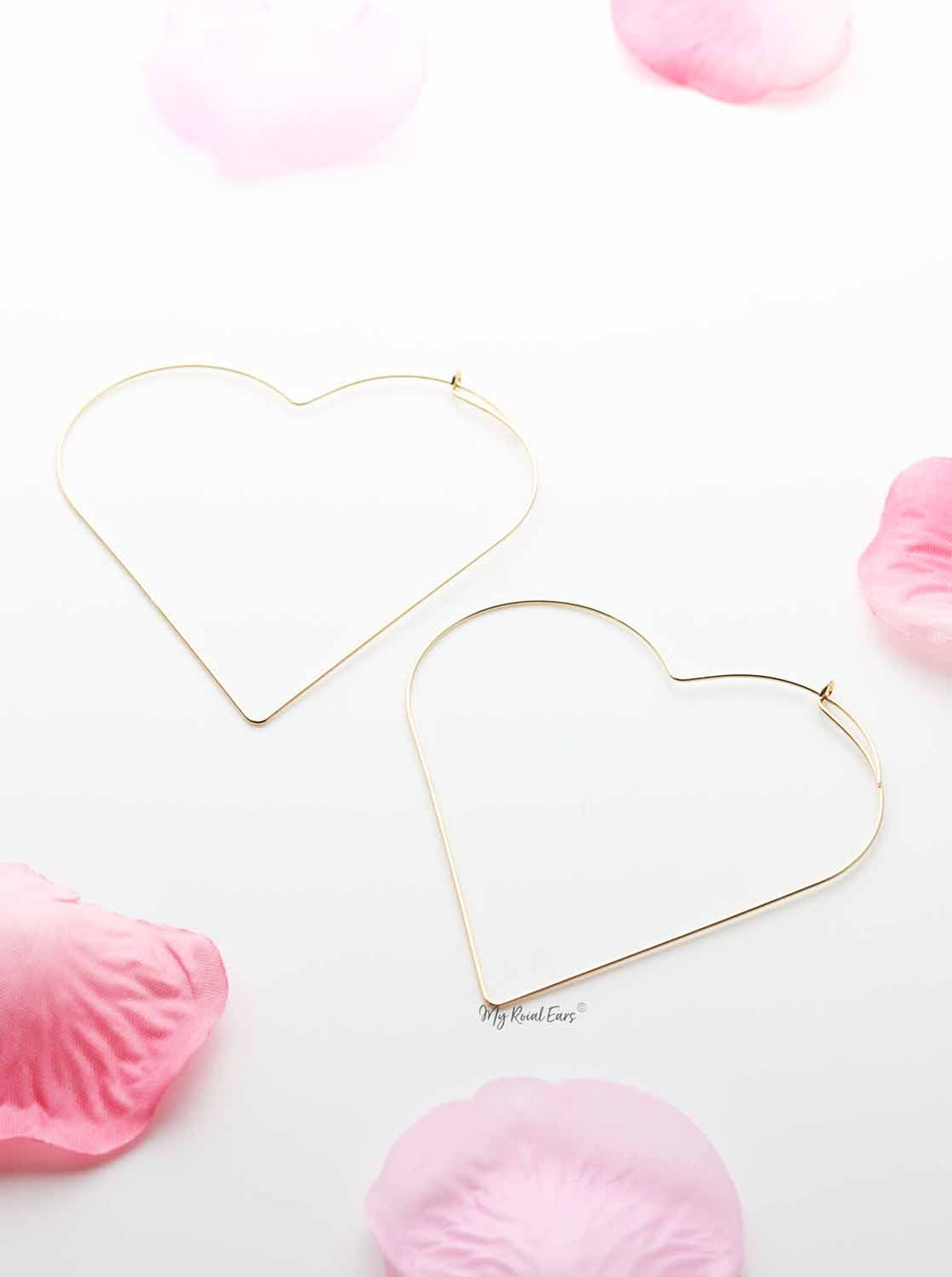 Mimosa- lightweight heart shape hoop earrings - My Roial Ears LTD