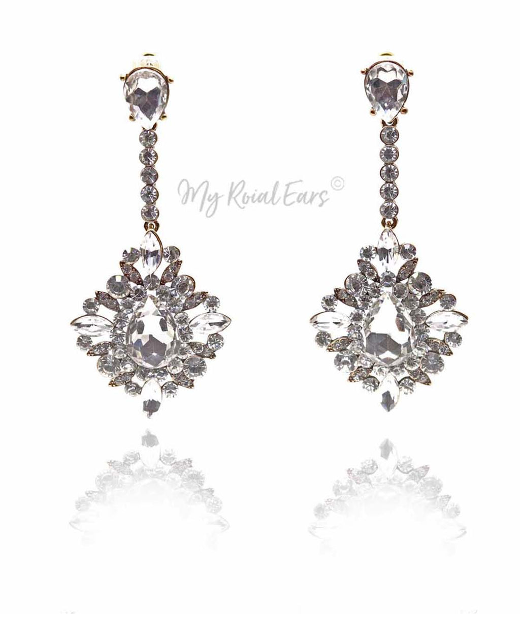 Q.DIANA- vintage crystal statement earrings - My Roial Ears LTD
