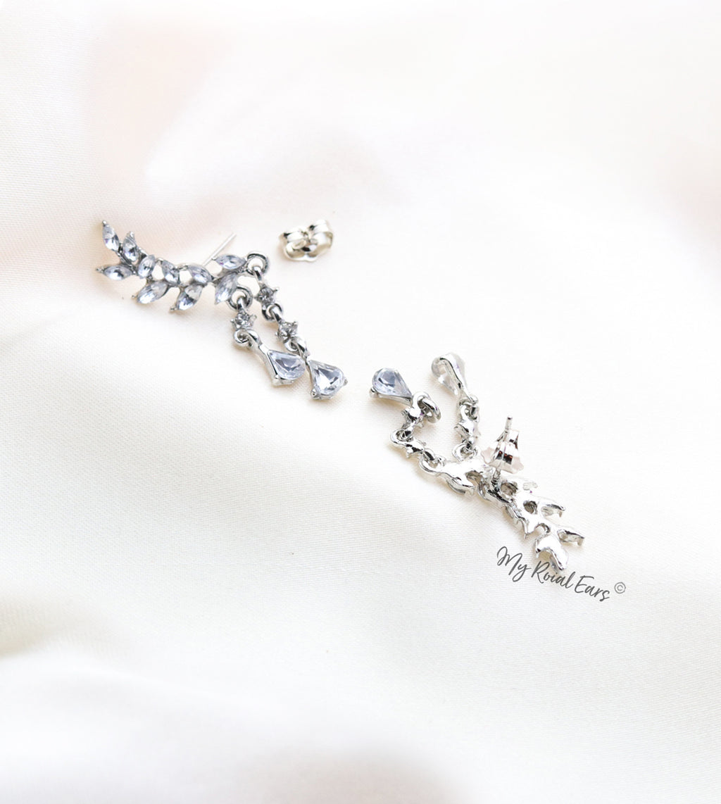 Q.Charlotte-stylish bridal crystal leaves stud statement earrings - My Roial Ears LTD