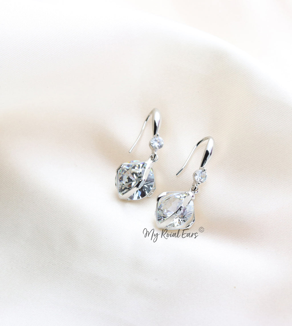 Q Georgiana Silver-plated crystal small ball drop bridal earrings - My Roial Ears LTD