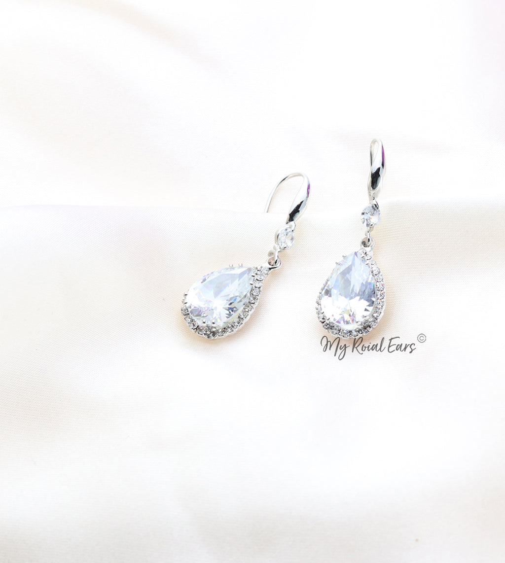 Q.Maud-classy small crystal luxury bridal drop earrings - My Roial Ears LTD