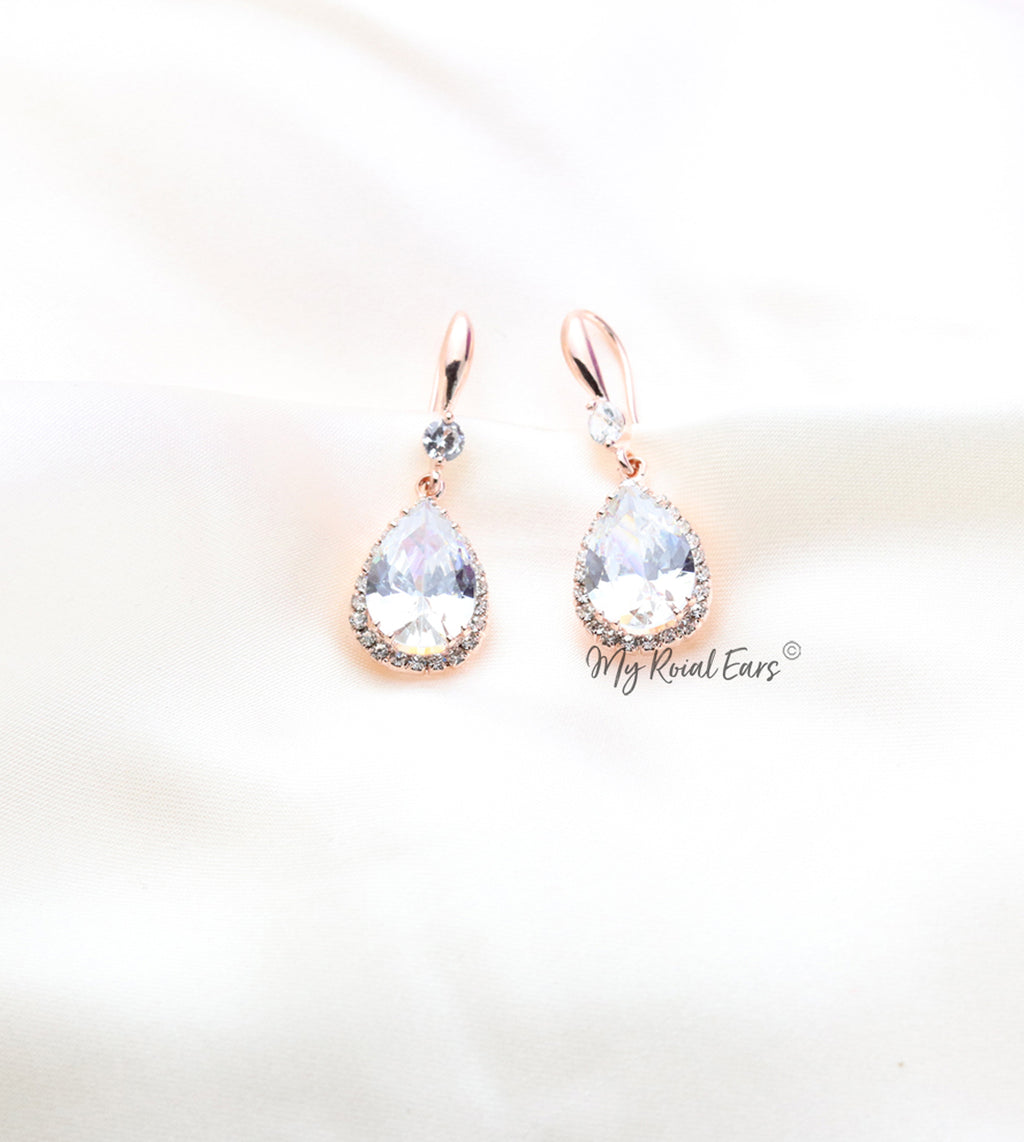 Q Maud Gold-classy small crystal luxury bridal drop earrings - My Roial Ears LTD