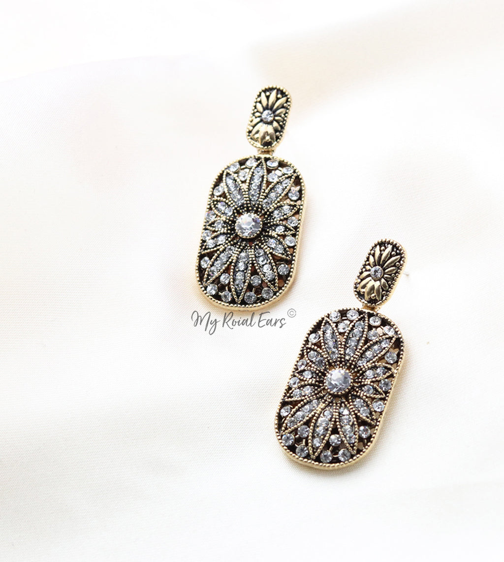 Q.Noor Silver-vintage antique gold dangle drop bridal earring - My Roial Ears LTD