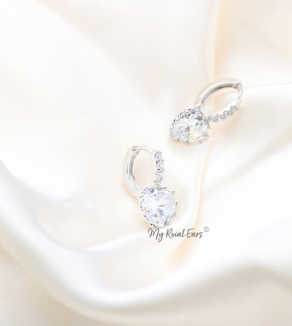 Q.Ursula -quality luxury platinum plated silver zircon hoop bridal earrings - My Roial Ears LTD