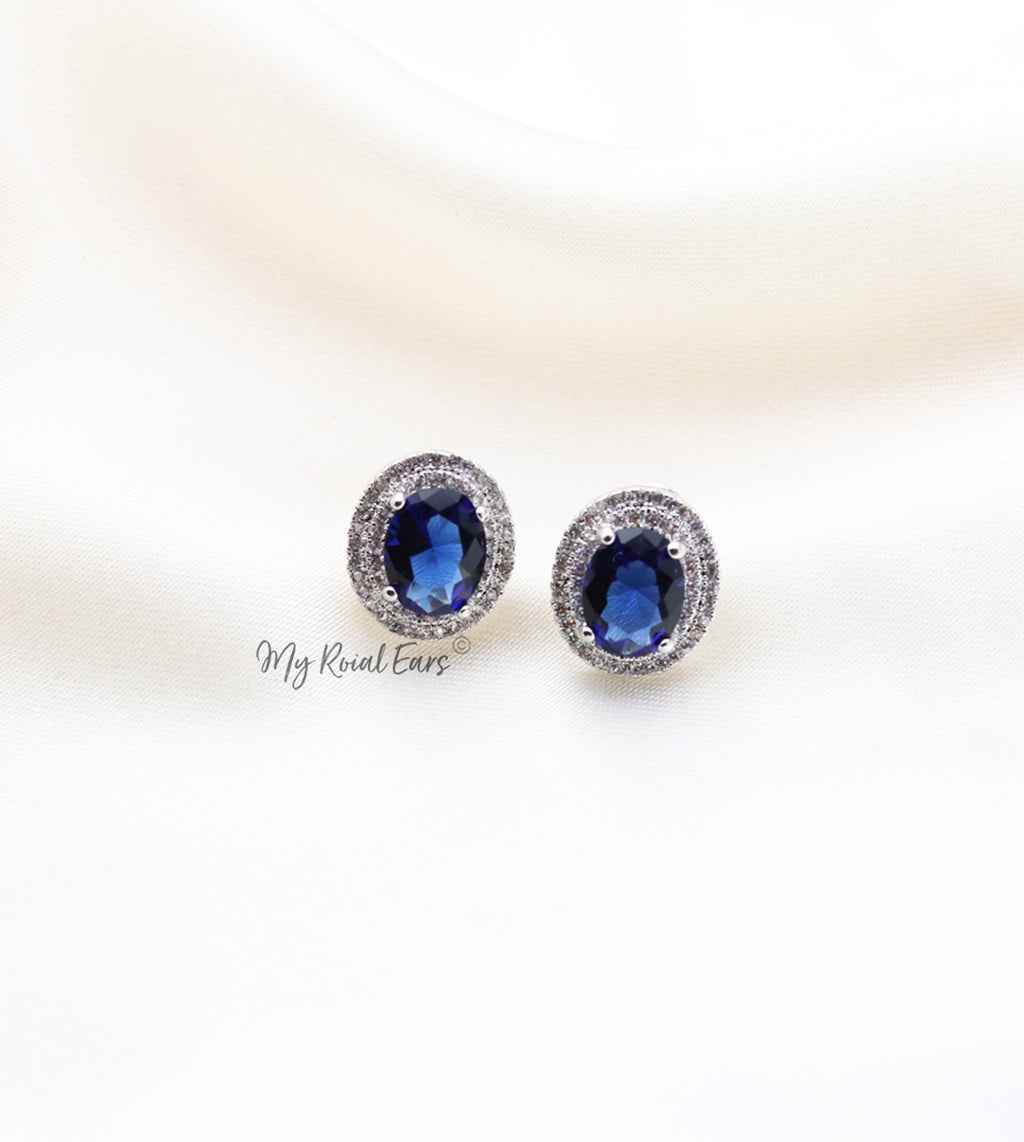 Q.Wanda Blue-platinum plated silver and sapphire blue stone inspired bridal stud earrings - My Roial Ears LTD