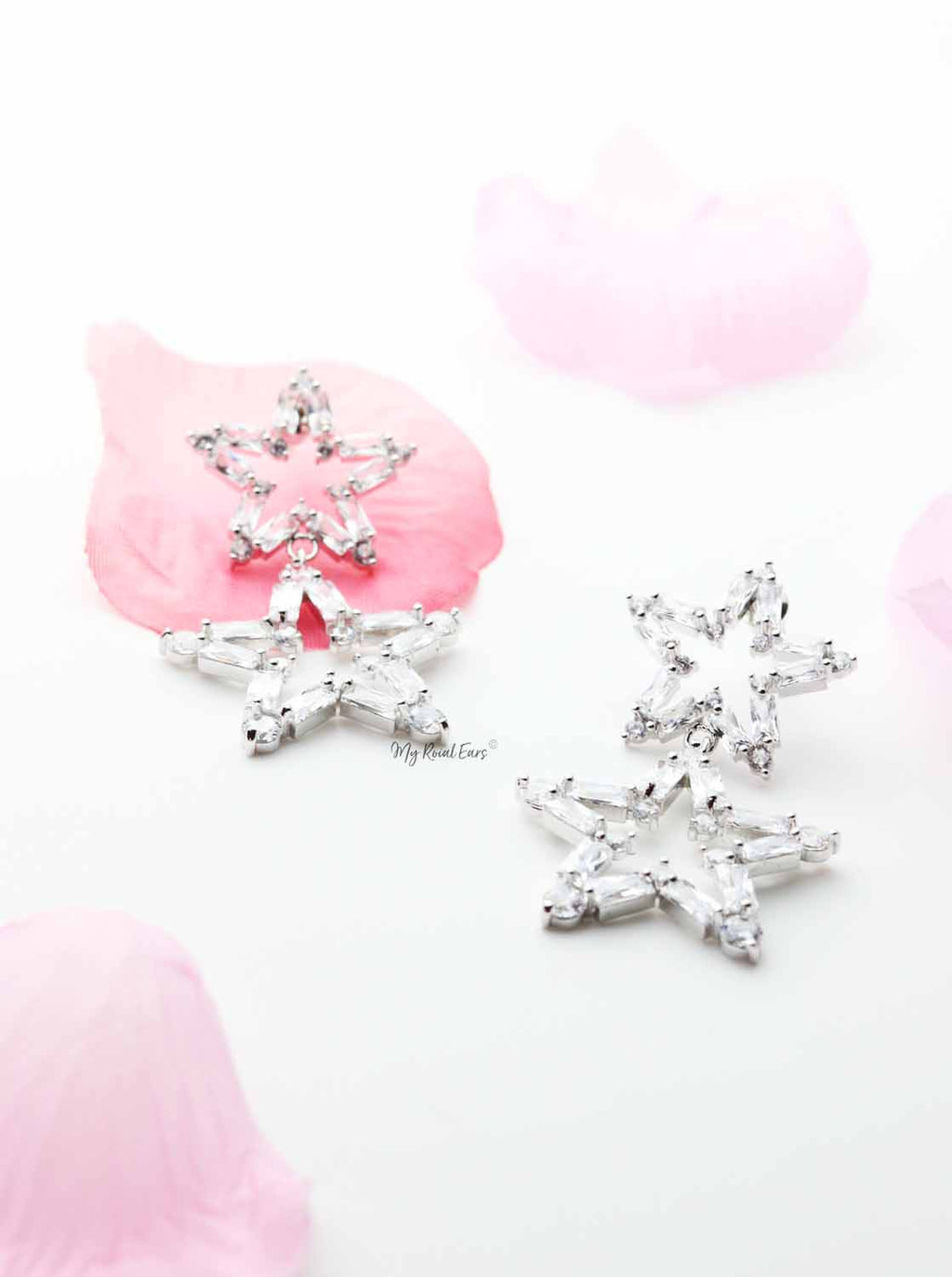 Roses- Glits Stars Drop Earrings - My Roial Ears LTD