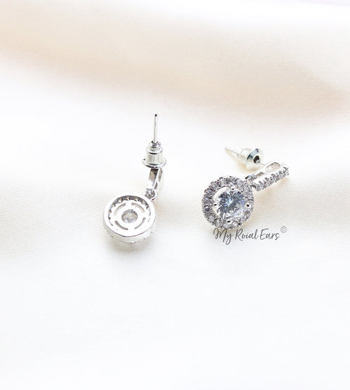 Q.Alexandra-round silver plated, aaa cubic zirconia stud drop bridal earrings - My Roial Ears LTD