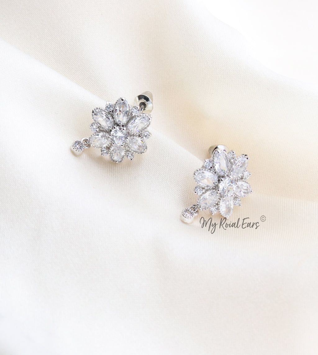 Q.Bella-high quality cubic zirconia stone flower bridal stud earrings - My Roial Ears LTD
