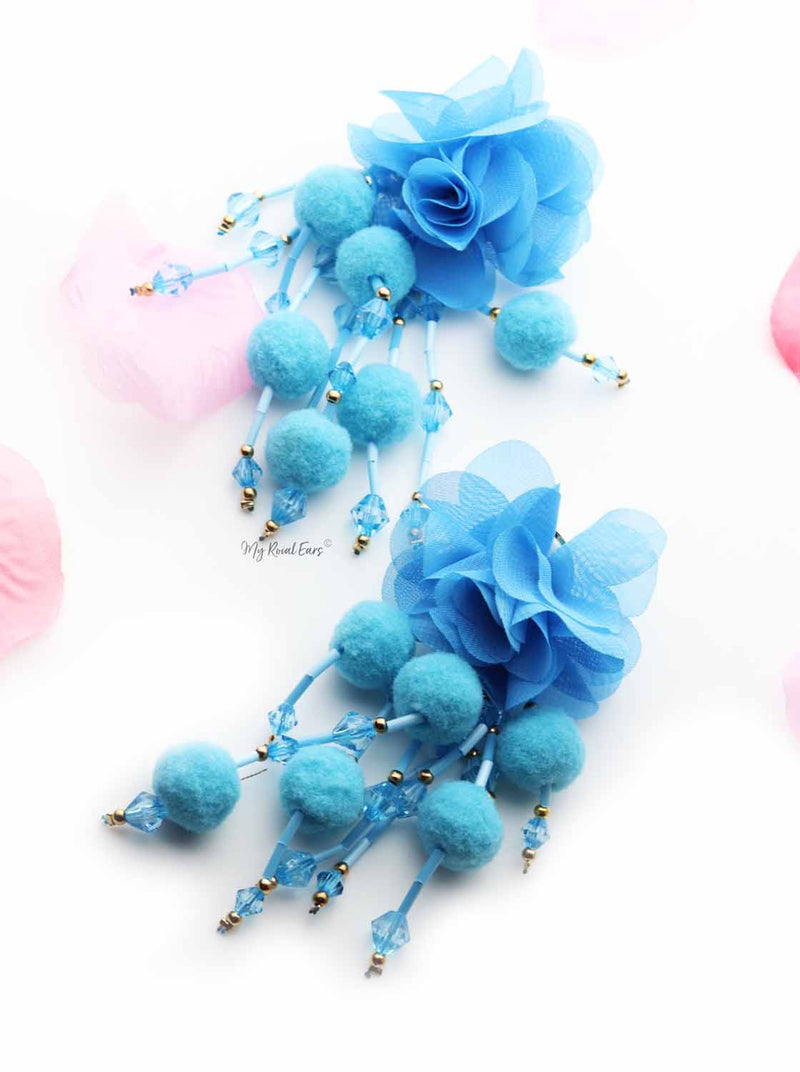 Sunflower Blue- Floral Pompom Tassel Drop Earrings - My Roial Ears LTD