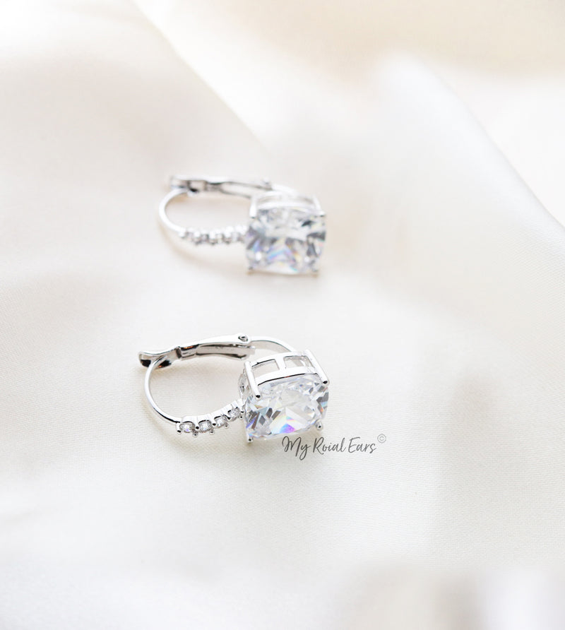 Q.Nala- sterling silver crystal square bridal drop earrings - My Roial Ears LTD