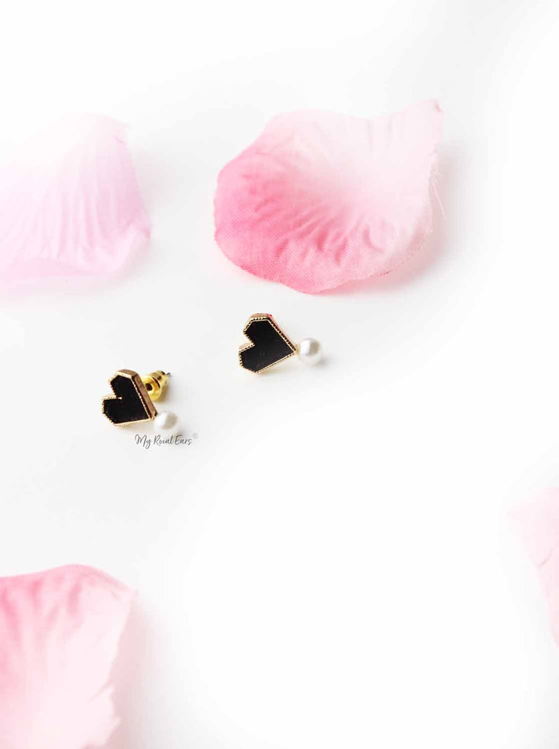 Tansy- gold plated black heart and pearl stud - My Roial Ears LTD