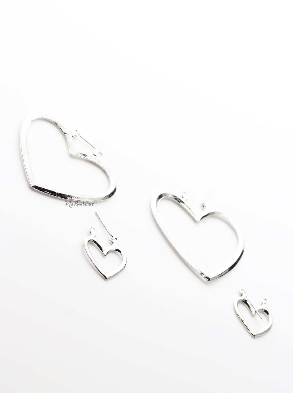 Thistle silver- Two Heart Shaped Hoop Earrings - My Roial Ears LTD