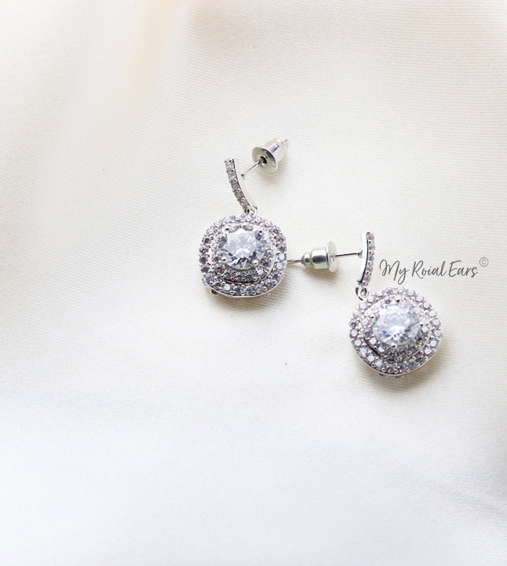 Q.Jasmine-cubic zircon crystal bridal drop earrings - My Roial Ears LTD