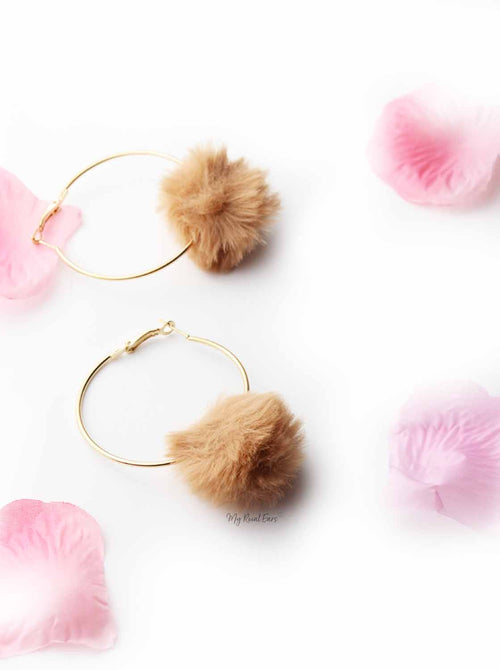 Violets-  Fun Fur Hoop Earrings - My Roial Ears LTD
