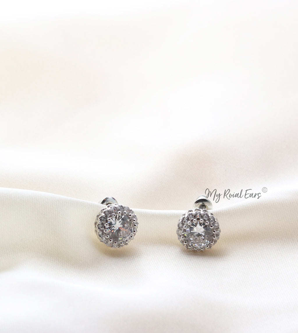 Q.Natalie-classic shimmer and shine round silver bridal stud earrings - My Roial Ears LTD