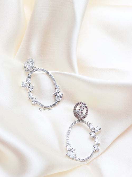 Q.EMMA-antique inspired cubic zircon bridal hoop earrings