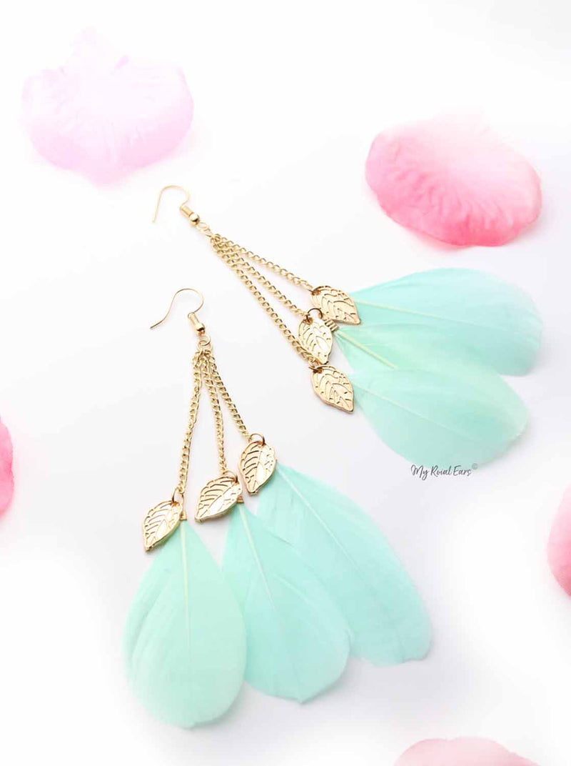 Passion D- Feather Drop Statement Earrings - My Roial Ears LTD