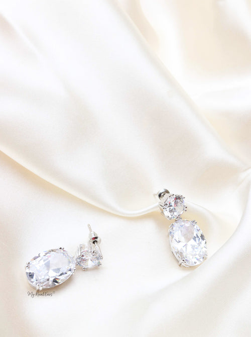 Q.SARAH- sparkling stud zircon bridal earrings