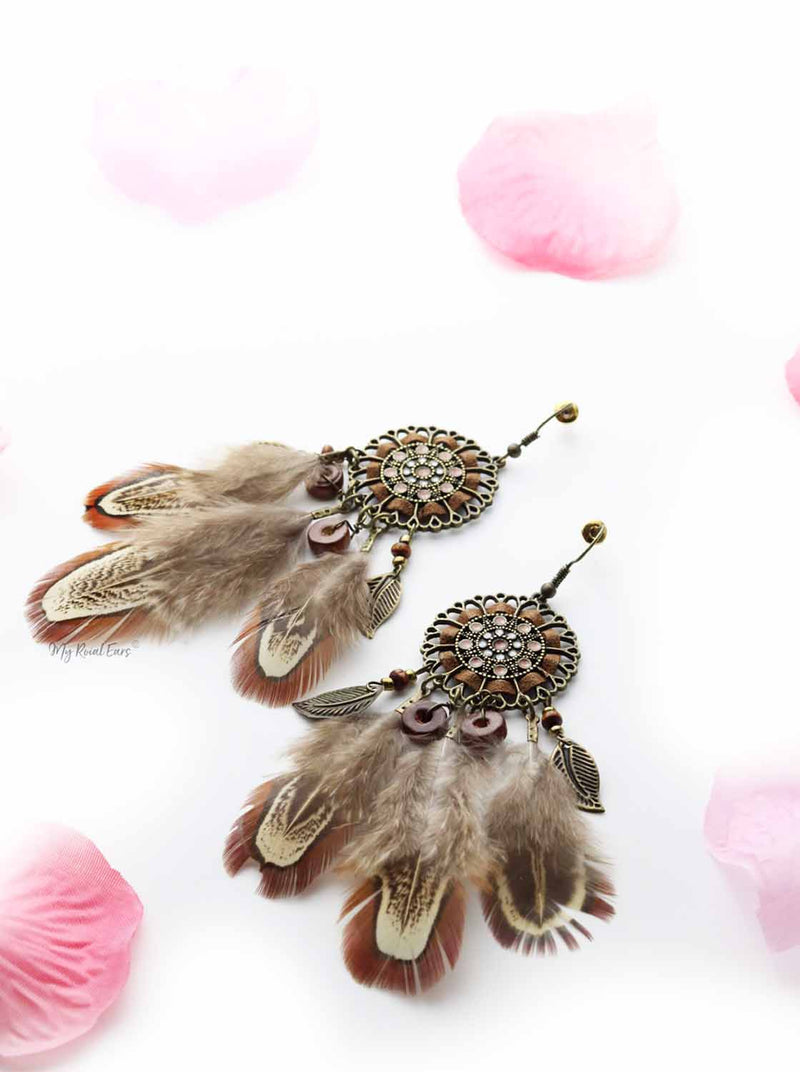 Lily-Ann- western native feather drop earrings - My Roial Ears LTD