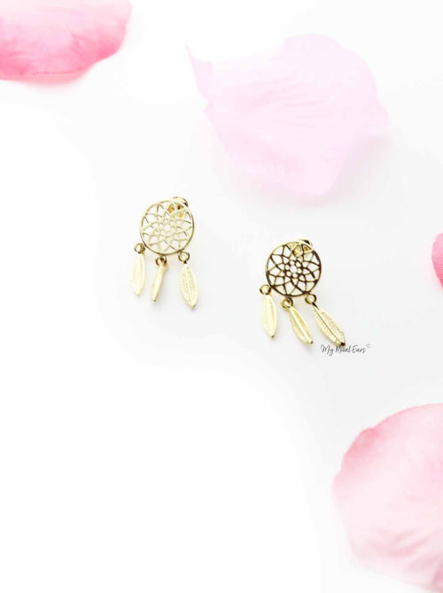 Terminal- round drop leaf stud earrings - My Roial Ears LTD