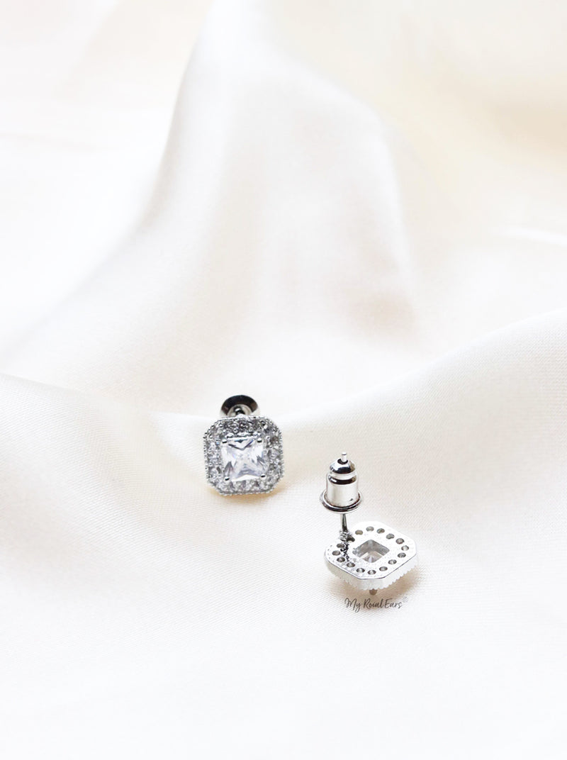 Q.MATILDA-square zircon enduring bridal stud earrings