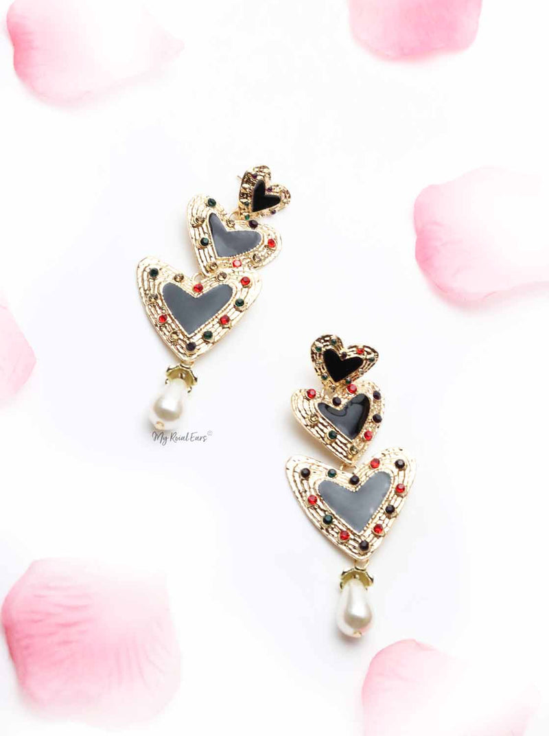Bell Heather-black and gold love drop earrings - My Roial Ears LTD