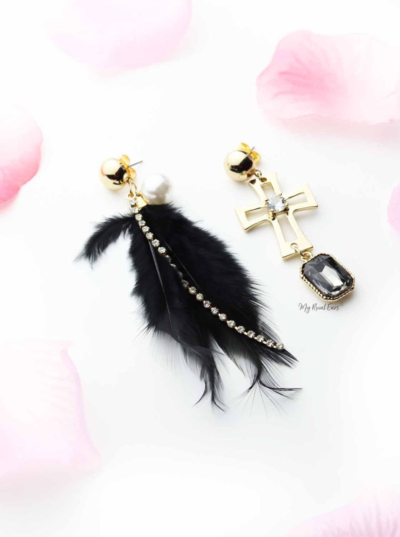 Yucca- pearl drop gold feather earrings - My Roial Ears LTD