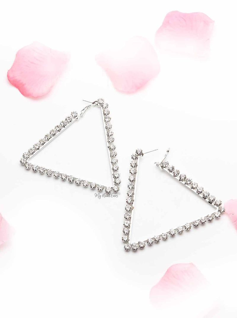 Alpinia- silver triangle earrings - My Roial Ears LTD