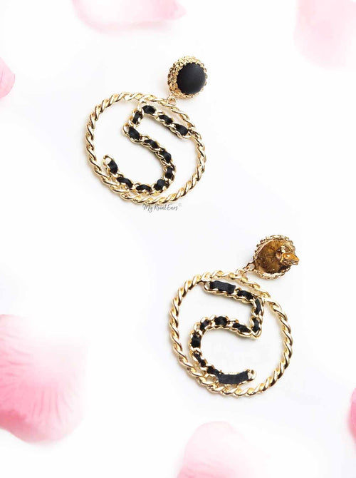 Cautleya Lutea- black and gold five hoop earrings - My Roial Ears LTD