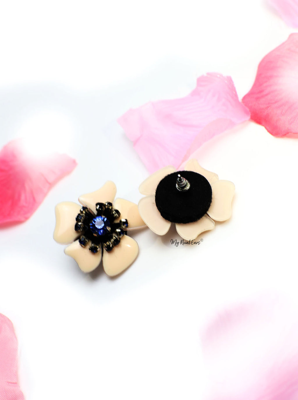 Tulip- statement flower stud embellished earrings