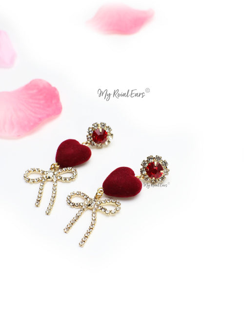 Lady's Slipper- velvet heart shape crystal drop earrings