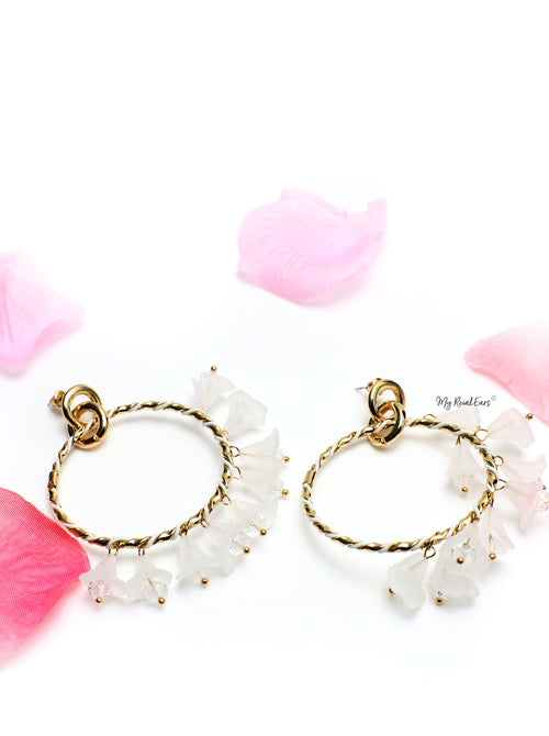 Marigold -dangling floral hoop earrings