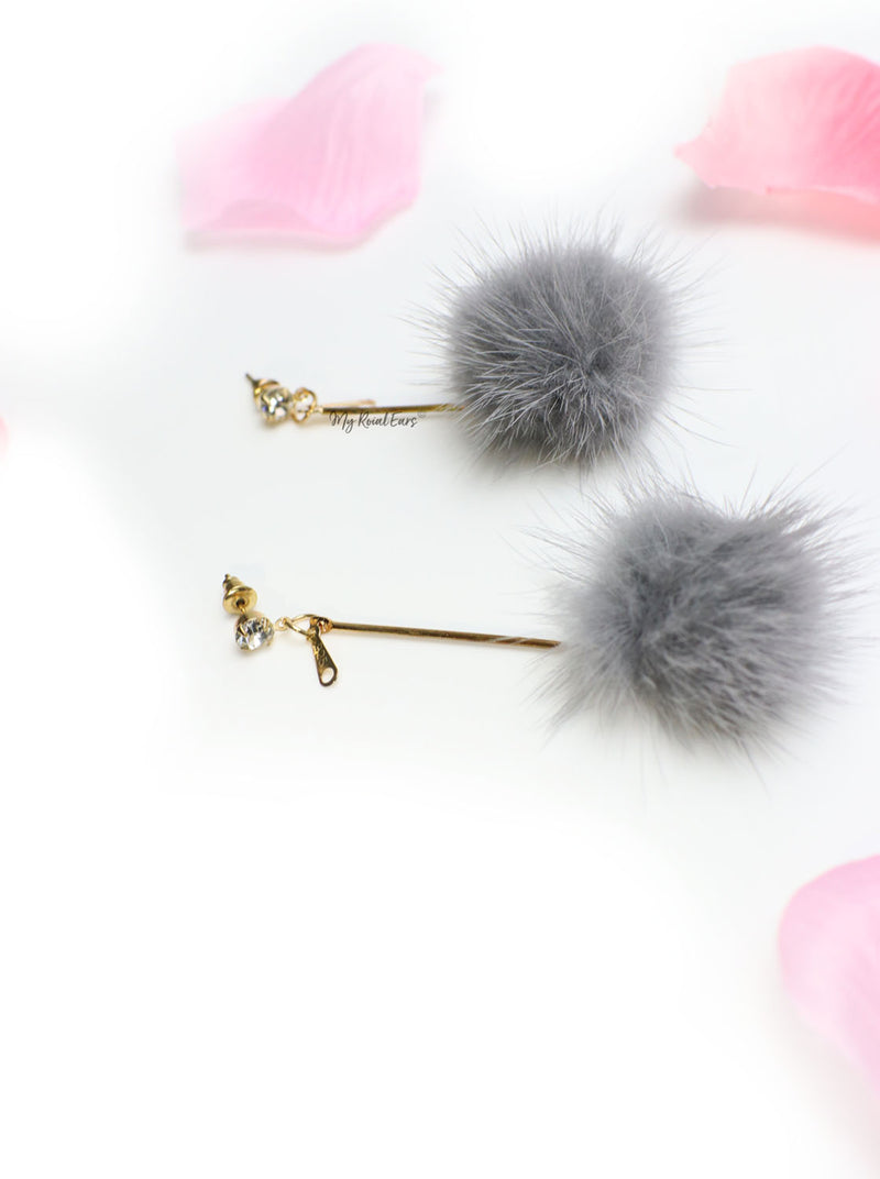 Tulip Grey-fur ball fashion drop earrings