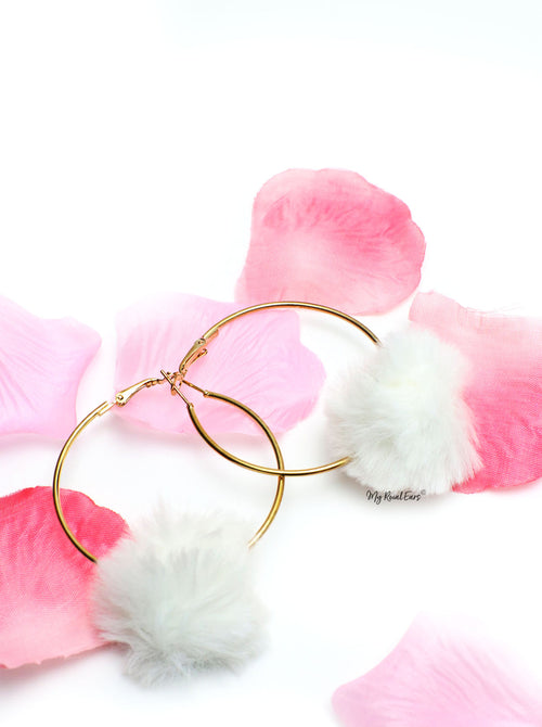 Violets White-  Fun Fur Hoop Earrings