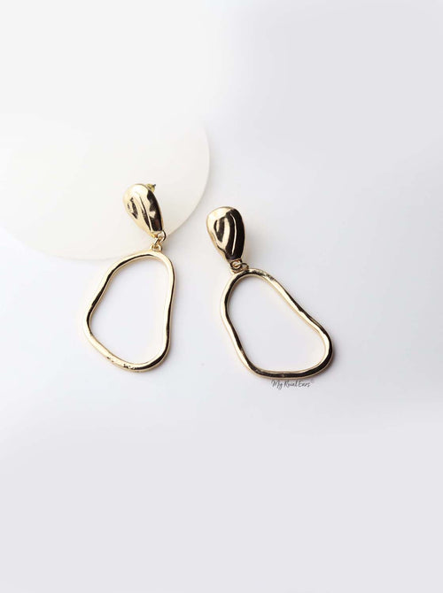 Callia- gold plated tasteful drop earrings - My Roial Ears LTD