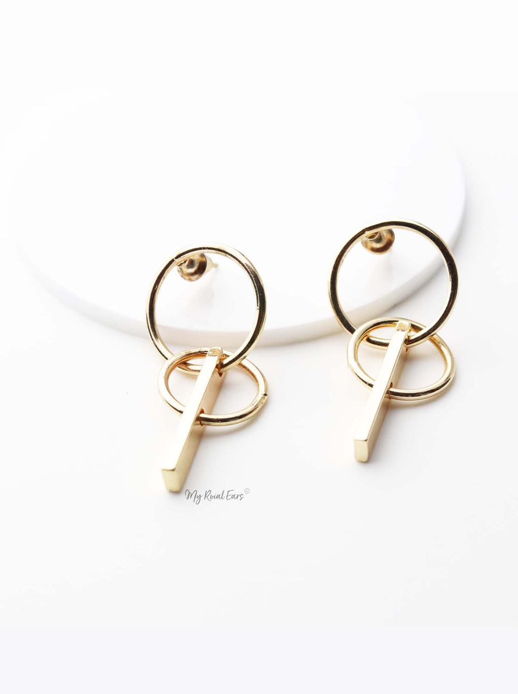 Phoebe- gold plated small double circle earrings - My Roial Ears LTD